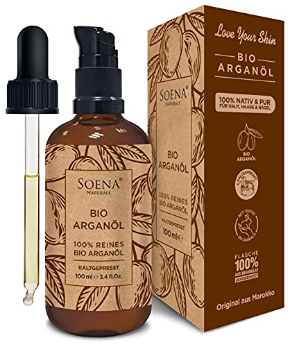 BIO ARGANÖL | Kaltgepresst 100% Rein | Für Haare Haut & Nägel | Frei von Zusatzstoffen | Original aus Marokko | 100ml im lichtgeschützten Braunglas | Natürliche Feuchtigkeitspflege von Soena Naturals