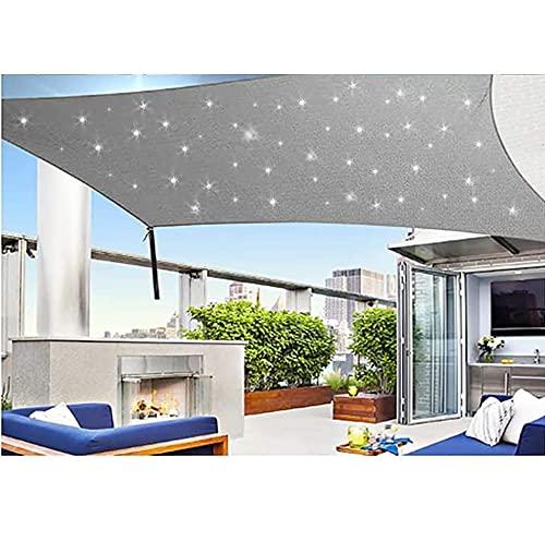 WEDSGTV Sonnensegel Mit LED Beleuchtung Licht, Wasserdicht Polyester Oxford Stoff Mit 95% UV-Block Markisen Für Draußen Terrasse Balkon Und Garten,Grey-2X3m
