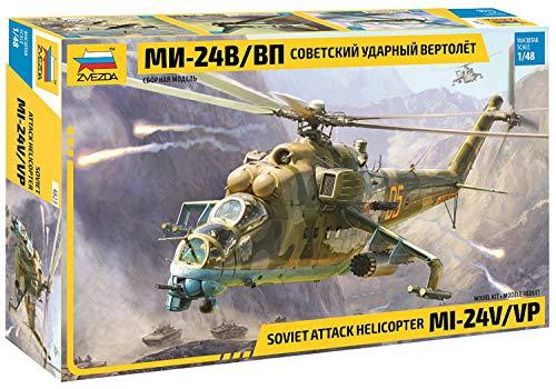 ズベズダ 1/48 ソ連軍 MIL-Mi 24 V/VP 戦闘ヘリコプター プラモデル ZV4823