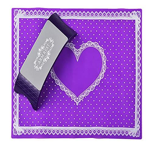 REGAL-HPQ Nail Art avancé Silicone Oreiller Main Porte-Coussin Silences Dentelle Table Mat Pad manucure Pliable Salon Outil Accessoires,Violet