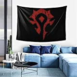 Wow Horde Distressed Logo Personalized Aesthetic Small Tapestry Wall Hanging For Living Room Bedroom 40 × 60 Inches