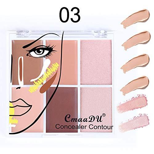 Dinglong Anticernes de maquillage,6 couleurs visage Anticaler camouflage crème contour palette Correcteur Anticernes de maquillage (C)