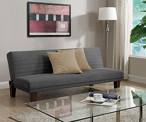DHP Dillan Convertible Futon with Microfiber Upholstery, Grey