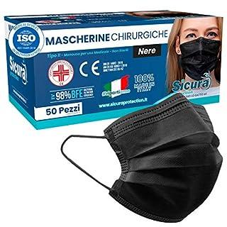 scheda 50 mascherine chirurgiche nere per adulti certificate ce italia tipo iir bfe ≥ 98% mascherina chirurgica colorata nera italiana uomo donna in 5 confezioni da 10 [50 pezzi]