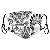 2021 Trends Native American Feather Head Band Teepee Tent Bow and Arrow Art Print,Mouth Cover for Women,Face Mask Reusable Washable Cloth for Men