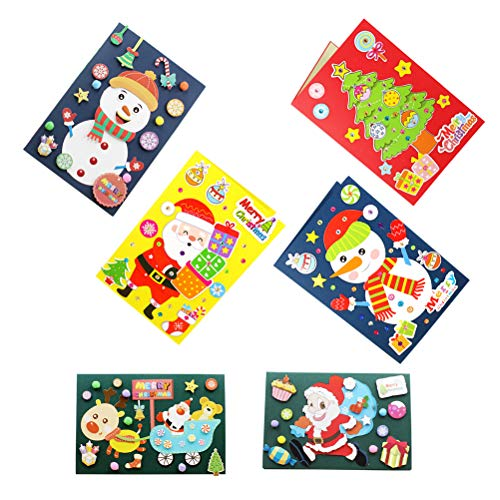 TOYMYTOY 4 Pack DIY Cards Making Materials Christmas Greeting Cards Supplies Craft Accessories for Kids Kindergarten