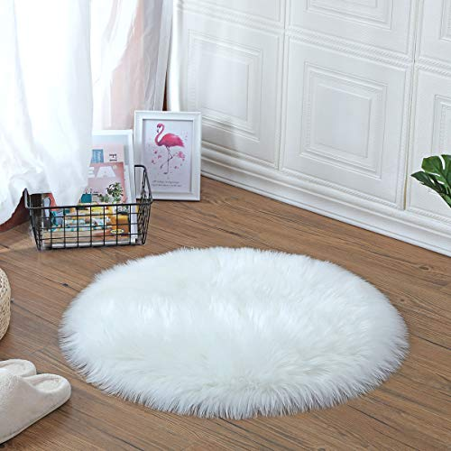 YIHAIC oveja de piel sintética Felpudo alfombra Antideslizante Lujosa Suave Lana artificial Alfombra para salón dormitorio baño sofá silla cojín (Blanco, 60 x 60 cm)
