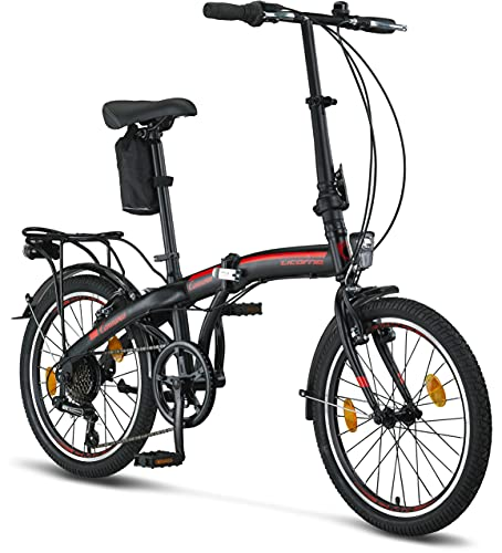 Licorne Bike Conseres 20 Zoll-Faltrad-Klapprad (Schwarz/Rot) Faltfahrrad-Herren-Damen-klappbares-Fahrrad-6 Gang Shimano Kettenschaltung-Folding City Bike, Abdeckung, StVZO, Vorderlampe, Hinterlampe