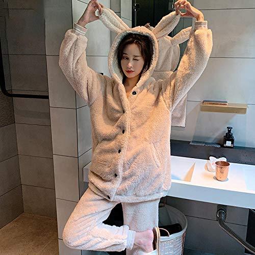 Bayrick Pijama Sexy Mujer Invierno,Conjunto de Pijama de Pareja de Manga Larga más Confort de Terciopelo, Franela cálida, Ropa Casual de Invierno, Conjunto de Dos Piezas de Pijama-SG_Una (Dama)