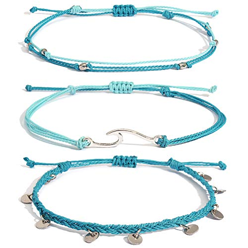 Lynnaneo Waterproof String Anklets Cute Beaded Ankle Bracelets Beach Wave Anklet Stainless Steel Coin Boho Ankle Jewelry for Women Teen Girls blue