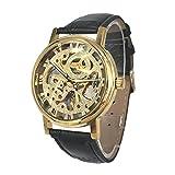 Orologio da polso di affari della cinghia di cuoio del movimento meccanico della mano di colore dell'oro della città