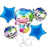 Decoracion cumpleaños sirena - globos sirenita Ariel - Fiesta infantil de princesas para niña - Pack globos Sirena - Photocall Cumple o Baby Shower Sirena - Globos morados - Adornos Guirnalda Sirena