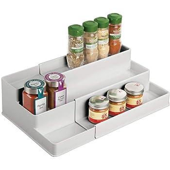 mDesign Especiero para Armario de Cocina o encimera – Estante Extensible para almacenar condimentos y ordenar la Cocina – Organizador de Especias de plástico con 3 Niveles – Gris Claro: Amazon.es: Hogar