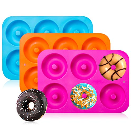3-Pack Silicone Donut Baking Pan of 100% Nonstick Silicone. BPA Free Mold Sheet Tray. Makes Perfect 3 Inch Donuts. Tray Measures 10x7 Inches. Easy Clean, Dishwasher Microwave Safe