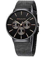 [メガリス]MEGALITH メンズレディース腕時計 ステンレスメッシュ防水ウオッチ 多針アナログクオーツ時計金属 ラグジュアリー おしゃれ ビジネス カジュアル メタル腕時計