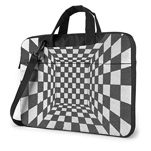 Portable Laptop Sleeve with Handle MacBook Tablet Carrying Case Cover Trippy Checkerboard Waterproof Compatible Notebook Bag with Shoulder Strap 14 inch