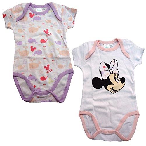 Disney - Body para bebé de media manga americana de algodón con diseño de Minnie Mouse WD101277 rosa Bianco 36 Meses