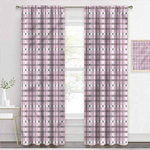 painting-home Blackout Curtains Geometric, Retro Tartan Pattern Window Panel Curtains for Villa/Hall/Patio Door W63 x L45 Inch
