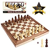 15 Inches Wooden Chess Set - 2 Extra Queens - Handmade Staunton Style Chess Pieces - Checkers Game Board With Checkers Pieces - Large Folding Chess and Checkers Set - Interior Storage for Pieces