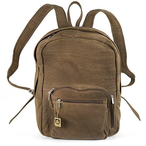 Großer Lederrucksack Größe L/Laptop Rucksack bis 15,6 Zoll, für Damen und Herren, aus Echt-Leder, Beige-Braun, Hamosons 514