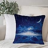 Qoqon Funda de Almohada, Funda de cojín Juego de fantasía, Cielo Nocturno con Luna, Estrellas Fugaces, Funda de cojín de decoración para el hogar Cozy Square para sofá Funda de Almohada
