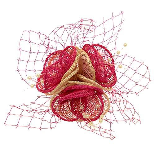 Acosta–fucsia rosa y marfil malla corsé con Red & Beads–Corsé de flores broche/Clip de pelo–Tocado