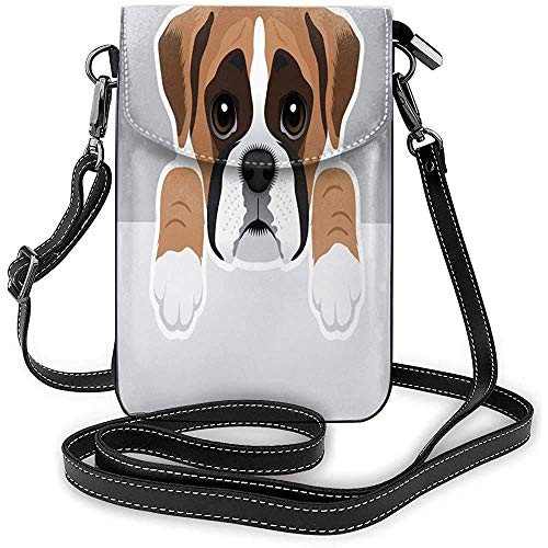 Cell Phone Purse with Shoulder Strap Boxer Dog Phone Wallet 3D Printed Vivid Card Holder Tiny Bag Durable PU Leather Passport Purse Wallet wit.
