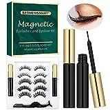 Faux Cils Magnétique,Eyeliner Magnétique,Faux Cils Magnétique Eyeliner Kit,5 Paires Faux Cils Magnétiques Naturels Réutilisables,2 Tubes Eyeliner/Pince à épiler Cils Extension de Cils