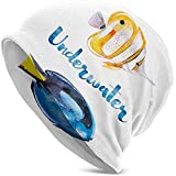 Sombrero Unisex Gorrita Tejida Sombreros de Punto Gorra de Calavera, Submarino náutico Azul Pacífico Tang Fish Surgeonfish Exotic Sea Artwork
