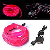 El Wire Pink with 6mm Sewing Edge, 16FT/5M Neon Wire USB with Fuse Protection for Automotive Car Interior Decoration