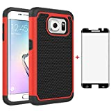 Phone Case for Samsung Galaxy S7 Edge with Tempered Glass Screen Protector Cover and Slim Rugged TPU Hybrid Cell Accessories Glaxay S7edge Gaxaly S 7 Plus Galaxies GS7 7s 7edge Women Boys Black Red