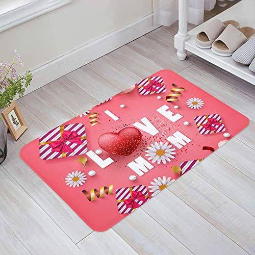 Alfombra estera del piso Tapetes Felpudo I Love MOM Daisy Floral Love Corazón Globo alfombras 40X60CM