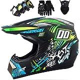 WNBXZ Motocross Helm Cross HelmMotocross Helm KinderMotorrad Crosshelm Set Mit Brille Handschuhe...