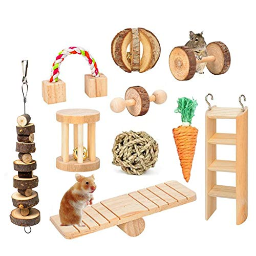 Futureshine Hamster Chew Toys,Guinea Pig Toys,Small Animal Climbing Stand Set,Natural Wooden Pine Rats Chinchillas Chew Toys,Dumbells Exercise Bell Roller Molar Toy for Gerbils