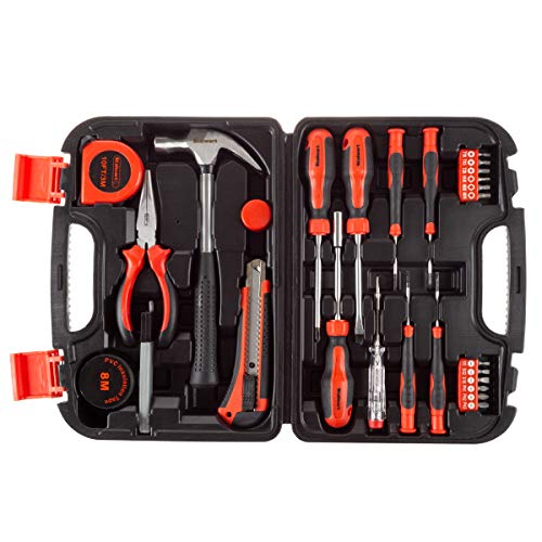 Stalwart Tool Kit – 36 Heat-Treatedpiece with Carrying Case - Essential Steel Hand Tool & Basic Repair Set For Apartments, Dorms, Homeowners