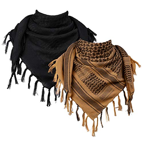 FREE SOLDIER Scarf Military Shemagh Tactical Desert Keffiyeh Head Neck Scarf Arab Wrap with Tassel 43x43 inches (2 Pack Coyote Brown & Black)