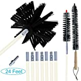 EAZY2HD 24 Feet Dryer Duct Cleaning Kit,Lint Remover,Flexible Dryer Vent Cleaner Kit, Chimney Brushes Extends up to 24 Feet,Synthetic Brush Heads,Use With or Without a Power Drill