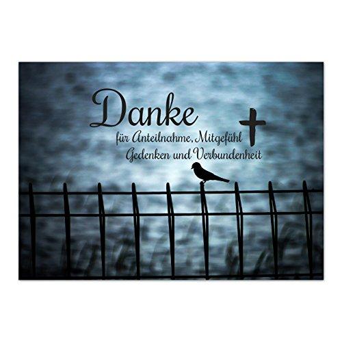 15 x Danksagung Trauerkarte mit Umschlag im Set - Danke nach Trauer, Beerdigung, Sterbefall, Friedhof, Begräbnis