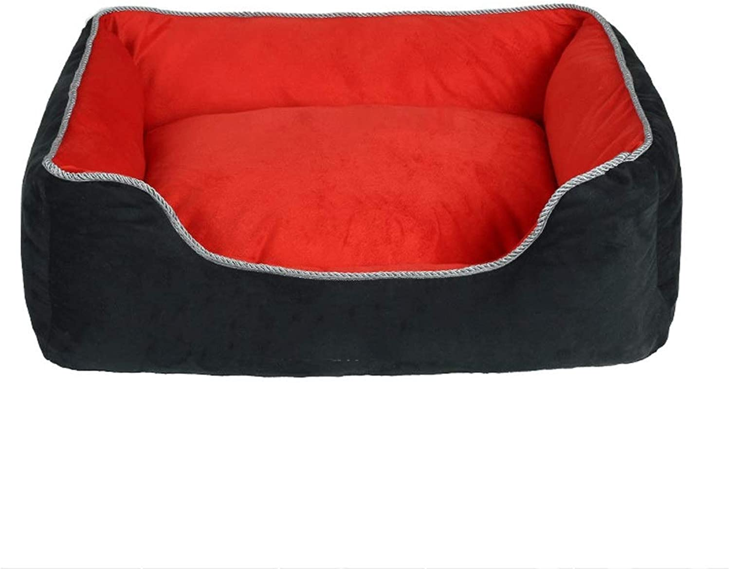 Kennel Winter Warm Suede Can Be Completely Removed and Washed Square Pet Nest (color   Red, Size   L)
