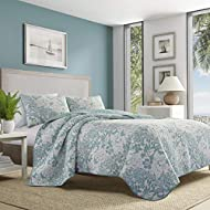 Tommy Bahama | Laguna Beach Collection | Quilt Set-100% Cotton, Lightweight & Breathable, Pre-Washed for Added Comfort, Queen, Aqua