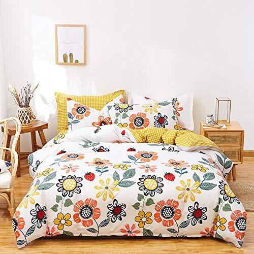Goodlife-1 Bedding Juego Sábanas de Cama 4 Piezas 100% algodón Ropa de Cama edredón Doble tamaño Suave Funda nórdica Juego de Cama para Hotel en casa-F_El 180x220cm
