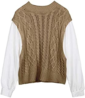 Stitching Two-Piece Twist Knitted Sweater Female Autumn Loose Casual top (Color : Coffee, Size : M)