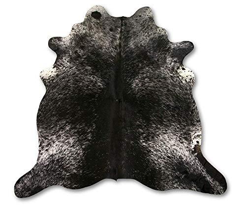 Zerimar Natuurlijk Tapijt Koeienhuid Zout-Peper Zwart & Wit | MAATREGELEN: 185x175 cm 2.39 m² | Tapijt in de woonkamer | Tapijtdecoratie | Slaapkamer tapijt | Natuurlijk tapijt