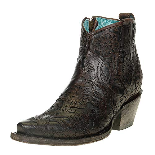 Corral Boot Company Womens Full Floral Inlay Ankle Bootie 9 B US Brown