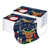 10-100 Stück Kinder Weihnachten Mundschutz Multifunktionstuch Einweg Atmungsaktiv Weihnachtsmotiv Mund-Nasenschutz Rentier Elch Motiv Tücher Halstuch