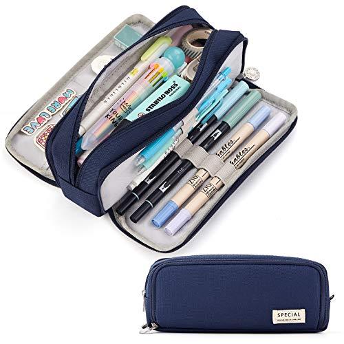 CICIMELON Large Capacity Pencil Case 3 Compartment Pouch Pen Bag for School Teen Girl Boy Men Women (Navy)
