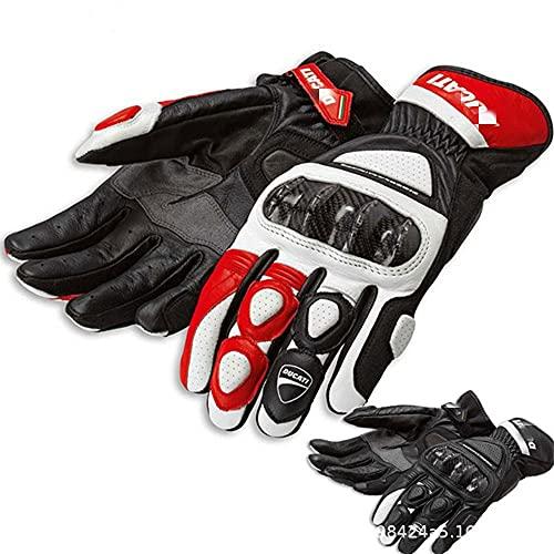 WMK Motorradhandschuhe, Duca-ti Golve Hard Knuckle Touchscreen Touchhandschuhe Motorradhandschuhe Motorrad Volle Fingerhandschuhe Schutz für Männer und Frauen (Color : Red, Size : XL)