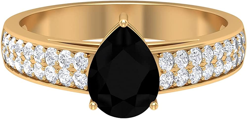 1.25 CT Engagement Ring with Lab Created Black Diamond and Moissanite, Solitaire Ring with Side Stones (6X8 MM Pear Cut Lab Created Black Diamond), 14K Yellow Gold, Size:US 5.0