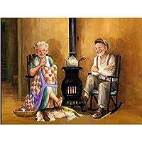 ダイヤモンドの絵画 5Ddiyダイヤモンド絵画クロスステッチ「花瓶アート風景カップル」家の装飾フルラインストーンインレイダイヤモンド刺繡