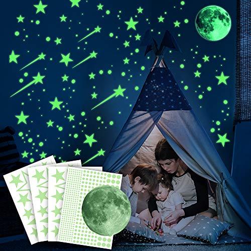 Ezigoo Luminoso Pegatinas De Pared y techo - 476 Piezas (Luna, Estrellas, Cometas y Puntos). Set De Decoración Destello De Oscuridad. Decoración Para Dormitorios Infantiles